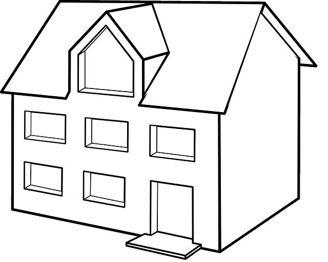 černobílý, kreslený domek